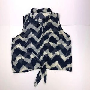 ​Charlotte Russe XL Navy Blue White Blouse